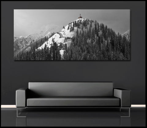 """Sulphur Mountain Weather Station"" Panoramic Black & White Fine Art Gallery Wrapped Canvas Print"