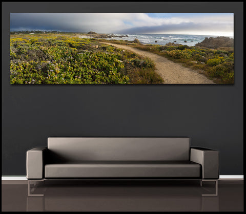 """Pebble Beach Sunset"" Carmel Panoramic Fine Art Gallery Wrapped Canvas Print"