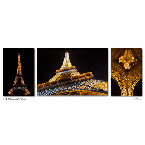 """The Golden Tower"" Paris Eifel Tower 3-Piece Fine Art Canvas Wall Display"