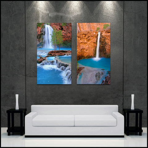 """Havasupai Waterfalls"" 2-Piece Epic Fine Art Canvas Set"