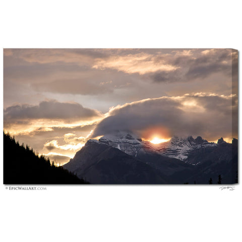 """Heavenly Mountain Sunrise"" Banff Fine Art Gallery Wrapped Canvas Print"