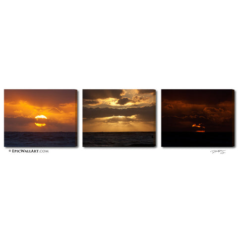 """Heavenly Ocean Sunset"" San Diego 3-Piece Epic Fine Art Canvas Wall Display"