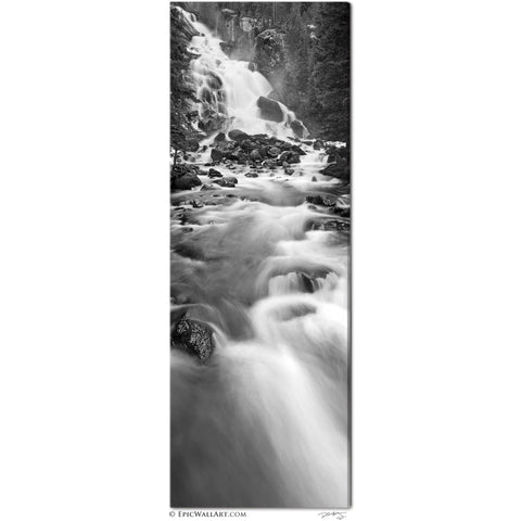 """Hidden Falls"" Black & White Grand Tetons National Park Vertical Panoramic Fine Art Gallery Wrapped Canvas Print"