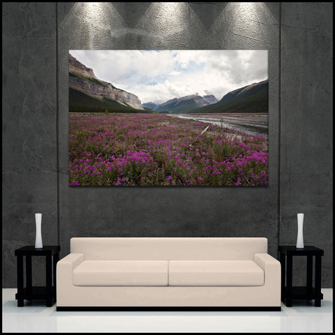 """Icefield Parkway Wildflowers"" Fine Art Gallery Wrapped Canvas Print"