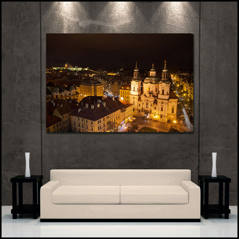 """Prague by Night"" Fine Art Gallery Wrapped Canvas Print"