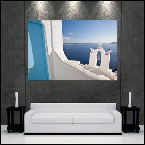 """Island Blues"" Santorini Fine Art Gallery Wrapped Canvas Print"