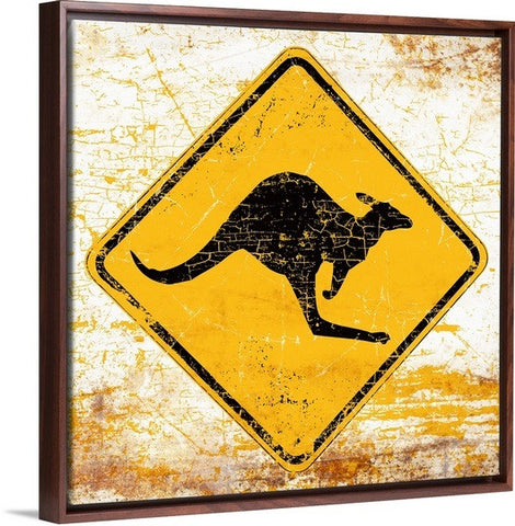 """Kangaroo Sign"" by Peter Horjus Custom Made Fine Art Canvas Print"