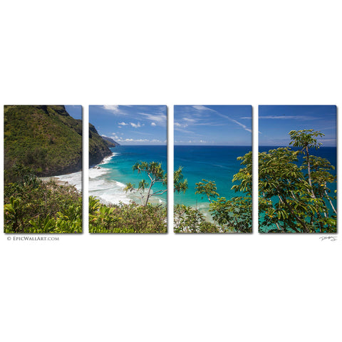 """Ke'e Beach Coastal Overlook"" Kauai Tropical 4-Piece Fine Art Canvas Wall Display"