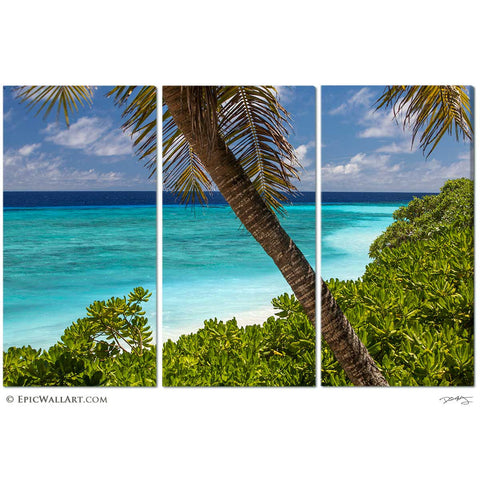 """Lagoon of Heaven"" Nanuki Island Fiji Tropical 3-Piece Fine Art Canvas Wall Display"