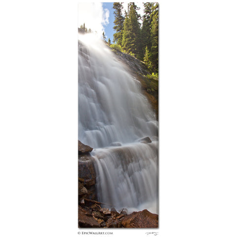 """Lake Agnes Falls"" Banff Vertical Panoramic Fine Art Gallery Wrapped Canvas Print"