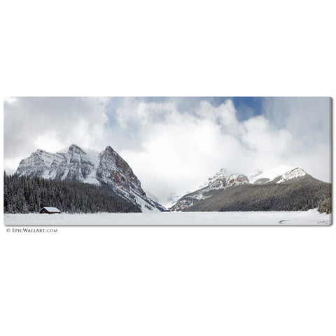 """Lake Louise Panoramic"" Snowy Fine Art Gallery Wrapped Canvas Print"