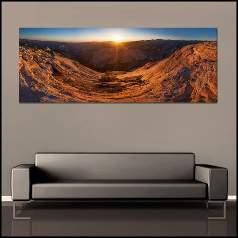 """Cloud's Rest Sunset Panoramic"" Yosemite Fine Art Gallery Wrapped Canvas Print"