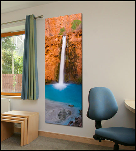 """Mooney Falls Flowing"" Havasupai Vertical Panoramic Fine Art Gallery Wrapped Canvas Print"
