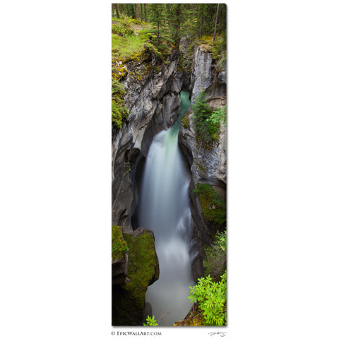 """Maligne Canyon Falls"" Jasper Vertical Panoramic Fine Art Gallery Wrapped Canvas Print"