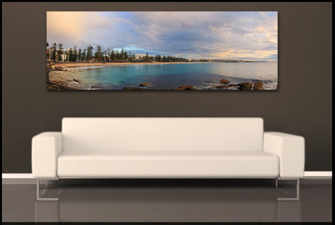 """Manly Beach Sunrise"" Sydney Panoramic Fine Art Gallery Wrapped Canvas Print"