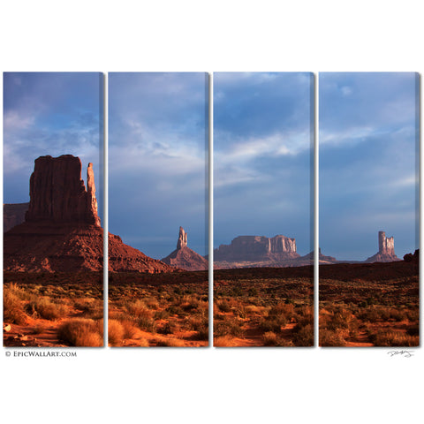 """Monument Valley Glow"" 4-Piece Fine Art Gallery Wrapped Canvas Wall Mural"