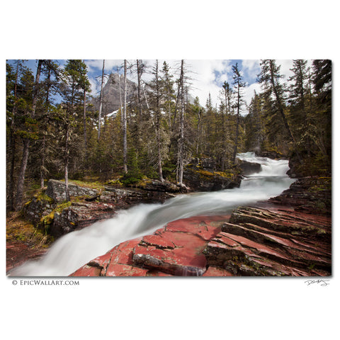 """Mountain Meltwaters"" Glacier National Park Fine Art Gallery Wrapped Canvas Print"