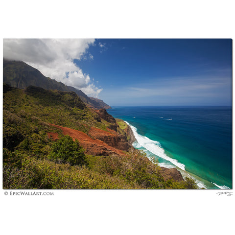 """Napali Coastline Colors"" Kauai Hawaii Fine Art Gallery Wrapped Canvas Print"