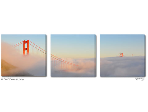 """Above the Clouds"" San Francisco Triptych 3-Piece Fine Art Canvas Set"