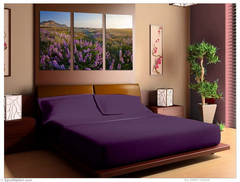 """Coastal Wildflowers"" California 3-Piece Epic Fine Art Canvas Wall Display"