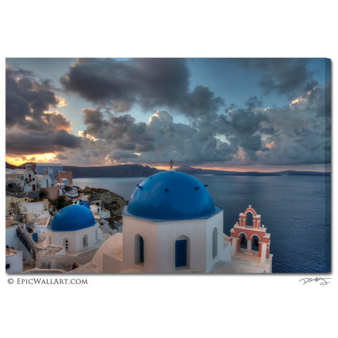 """Oia Village Sunrise"" Santorini Fine Art Gallery Wrapped Canvas Print"