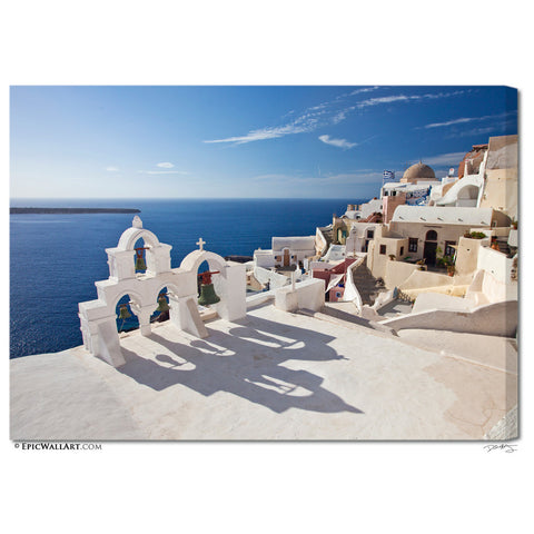 """Oia Village Bell Tower"" Fine Art Gallery Wrapped Canvas Print"