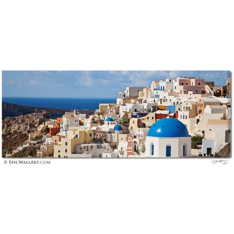 """Oia Village Colors"" Greek Islands Panoramic Fine Art Gallery Wrapped Canvas Print"
