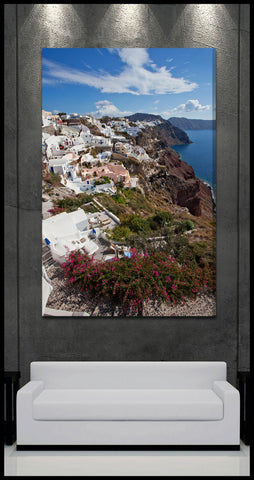 """Oia Village Flowers"" Greek Islands Fine Art Gallery Wrapped Canvas Print"