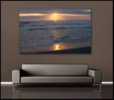 """Peaceful Ocean Sunset"" Coastal Fine Art Gallery Wrapped Canvas Print"