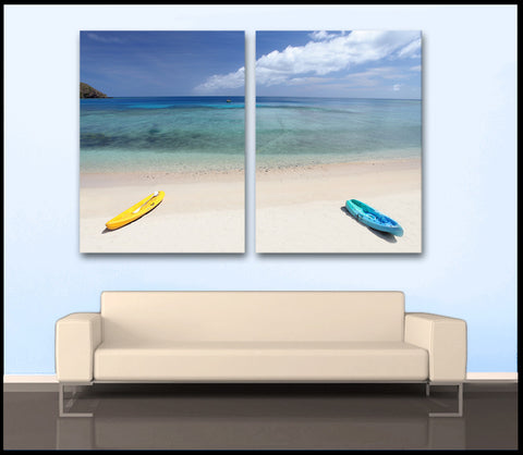 """Parked in Paradise"" Tropical 2-Piece Fine Art Canvas Wall Display"