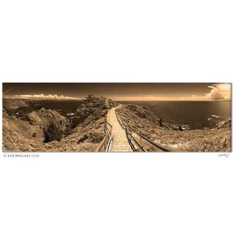 """Muir Beach Overlook"" San Francisco Sepia Infrared Panoramic Fine Art Gallery Wrapped Canvas Print"
