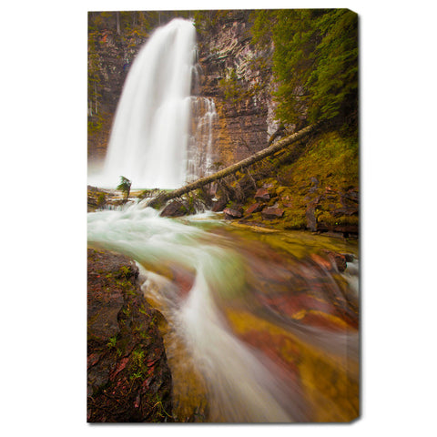 """Red Forest Falls"" Montana Fine Art Gallery Wrapped Canvas Print"