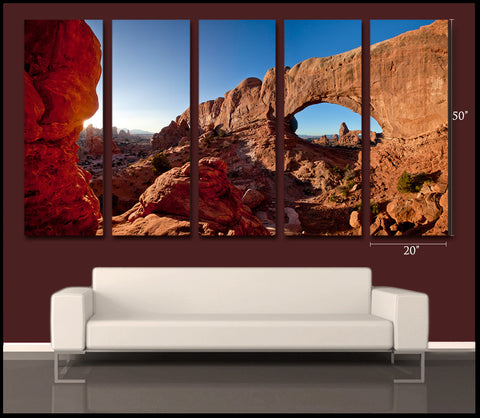 """Windows To Another World"" Arches Limited Edition 100x50"" 5-Piece Gallery Wrapped Canvas Wall Display"