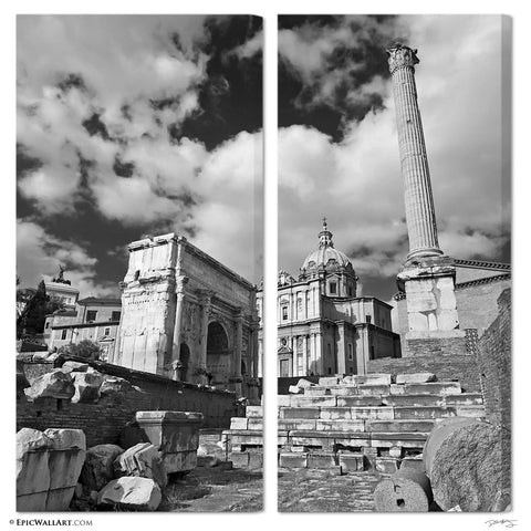 """Roman Ruins"" Rome 2-Piece Fine Art Canvas Wall Display"