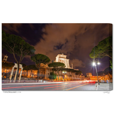 """Piazza Venezia"" Rome Fine Art Gallery Wrapped Canvas Print"