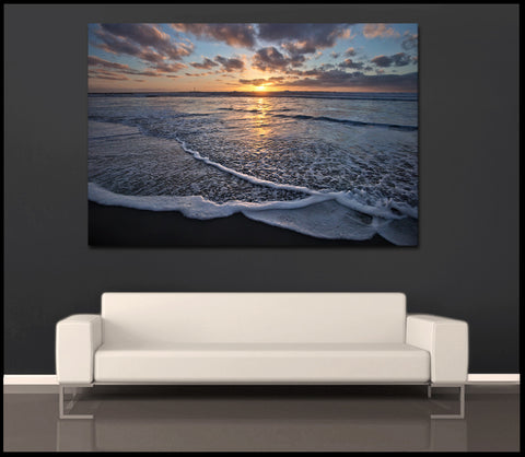 """San Diego Sunset Wave"" San Diego Fine Art Gallery Wrapped Canvas Print"