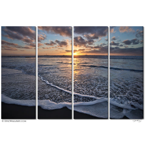 """San Diego Sunset Wave"" 4-Piece Fine Art Gallery Wrapped Canvas Wall Mural"