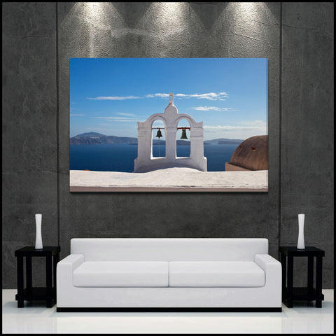 """Santorini BellTower"" Greece Fine Art Gallery Wrapped Canvas Print"
