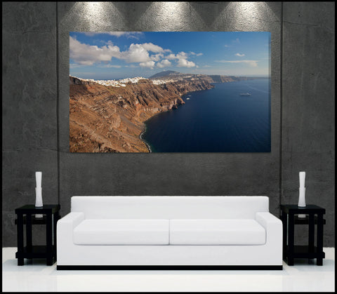 """Santorini Shoreline"" Greece Fine Art Gallery Wrapped Canvas Print"
