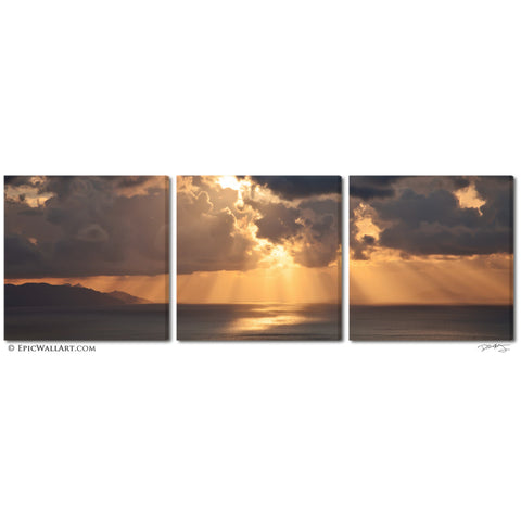 """Greek Islands Sunrise"" Santorini Triptych 3-Piece Fine Art 3-Piece Canvas Set"
