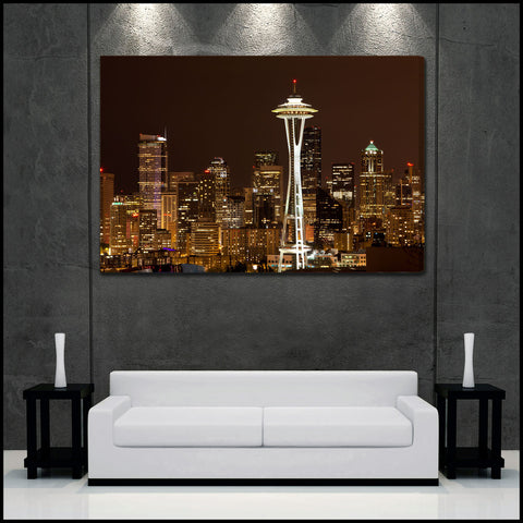 """Seattle Skyline"" Fine Art Gallery Wrapped Canvas Print"