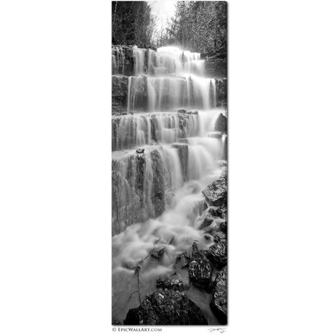 """Silver Staircase Falls"" Montana Black & White Vertical Panoramic Fine Art Gallery Wrapped Canvas Print"