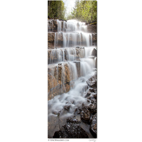 """Silver Staircase Falls"" Montana Vertical Panoramic Fine Art Gallery Wrapped Canvas Print"