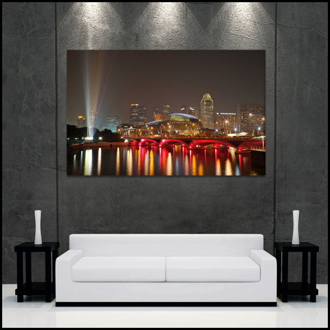 """Singapore Skyline"" Fine Art Gallery Wrapped Canvas Print"