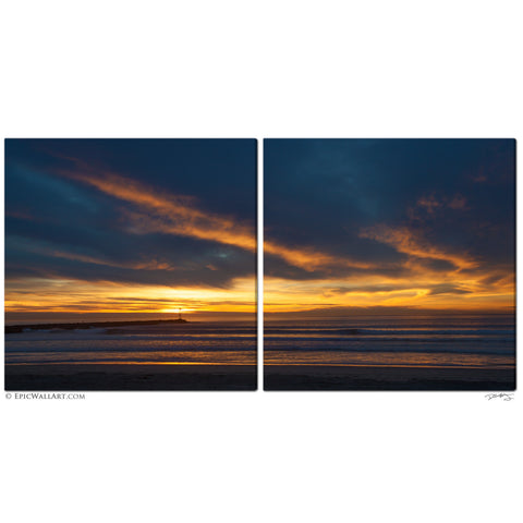 """Sky of Fire"" San Diego 2-Piece Fine Art Canvas Wall Display"