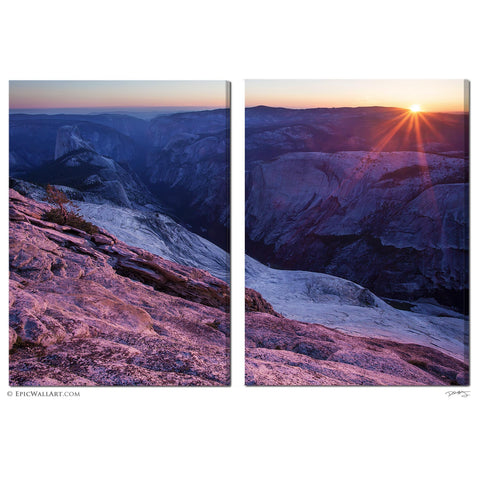 """Last Sun On Yosemite"" 2-Piece Fine Art Gallery Wrapped Canvas Wall Mural / Display"