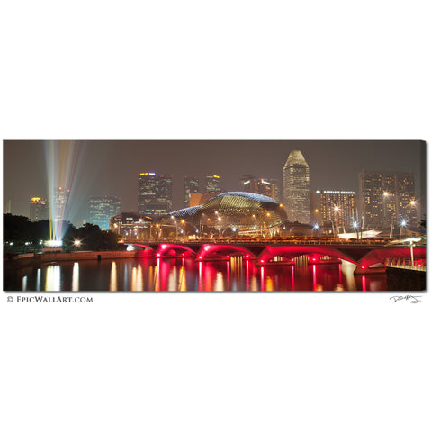 """Singapore Skyline"" Panoramic Fine Art Gallery Wrapped Canvas Print"
