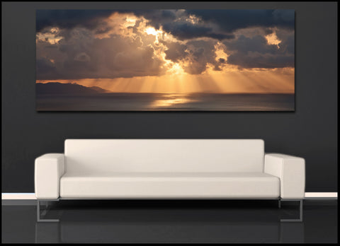 """Santorini Sunrise"" Greek Islands Panoramic Fine Art Gallery Wrapped Canvas Print"