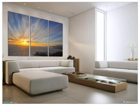 """Sunset Explosion"" California Triptych 3-Piece Fine Art Canvas Print"