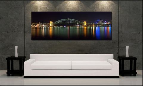 """Sydney Harbor"" Panoramic Fine Art Gallery Wrapped Canvas Print"